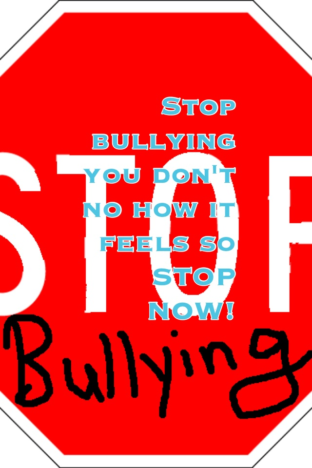 Stop bullying you don&#x27;t no how it feels so STOP NOW!